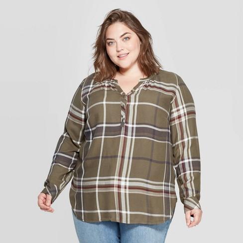Women\'s Plus Size Plaid Long Sleeve V-Neck Tunic Shirt - Universal Thread™  Green