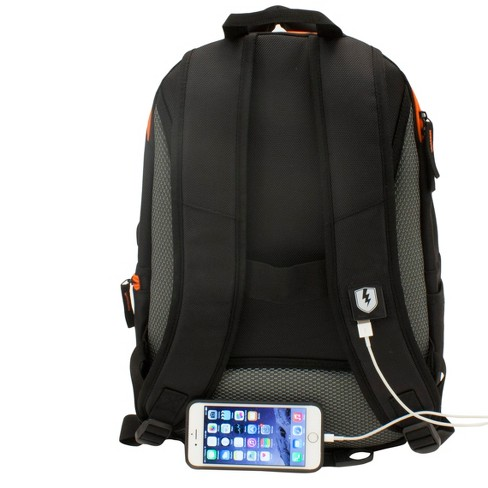 M Edge 20 Commuter Backpack With Built In 6000 Mah Portable Charger Black Orange Target
