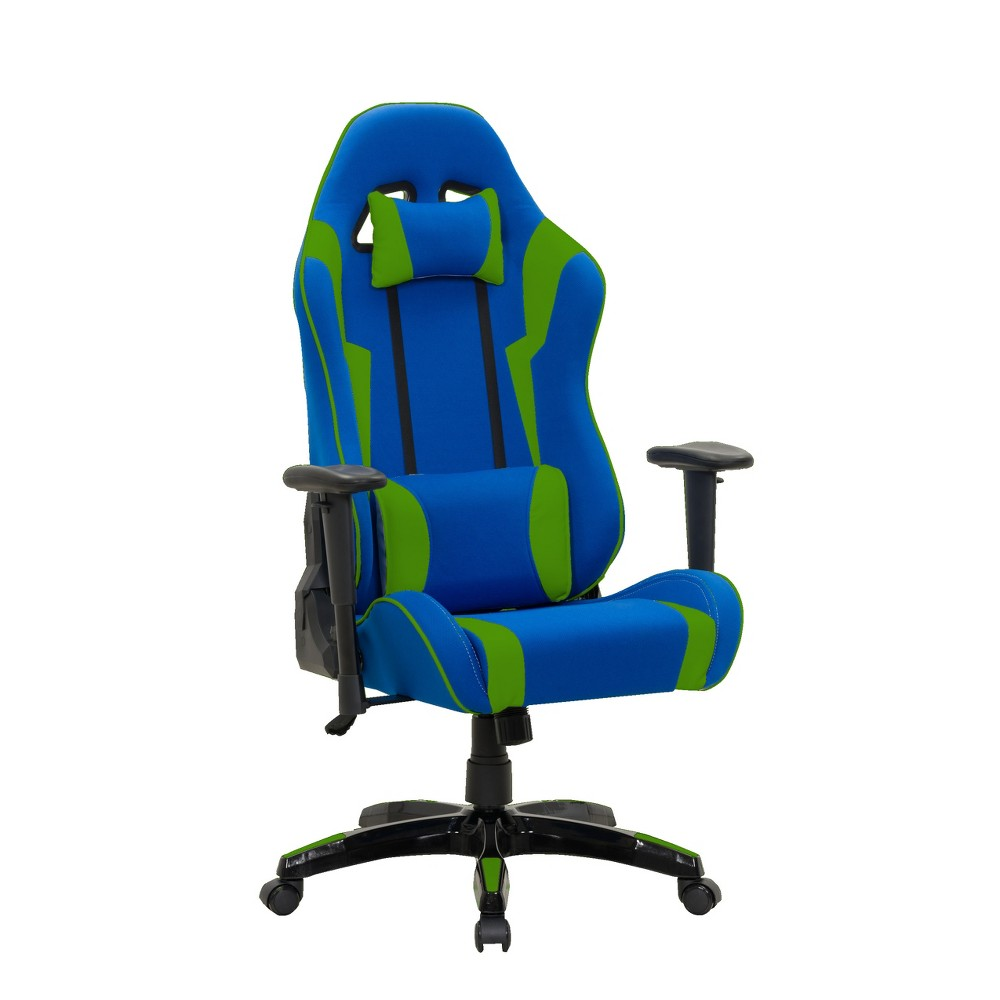 Adjustable High Back Ergonomic Gaming Chair Blue/Green - CorLiving