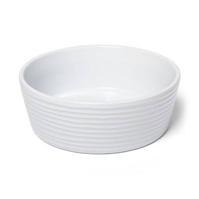 Stoneware White Textured Dog Bowl - 6cup - Boots & Barkley™