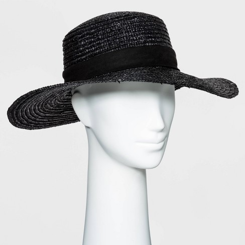 Women's Flat Top Wheat Straw Boater Hat - A New Day™ - image 1 of 1