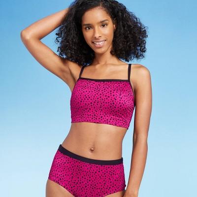 Women's Longline Square Neck Bikini Top - All in Motion™ Cranberry Dot