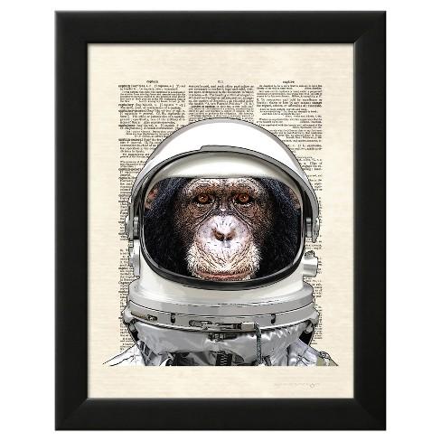 Space Chimp Black Wood Framed Art Print - image 1 of 3