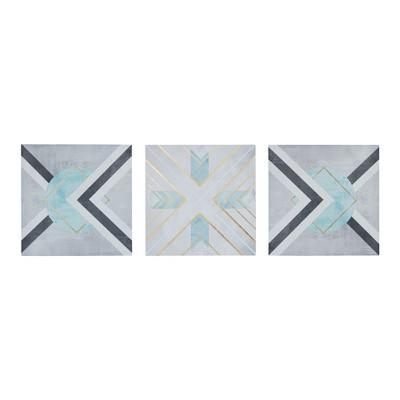Axis Printed Canvas 3pc Decorative Wall Art Set Gray