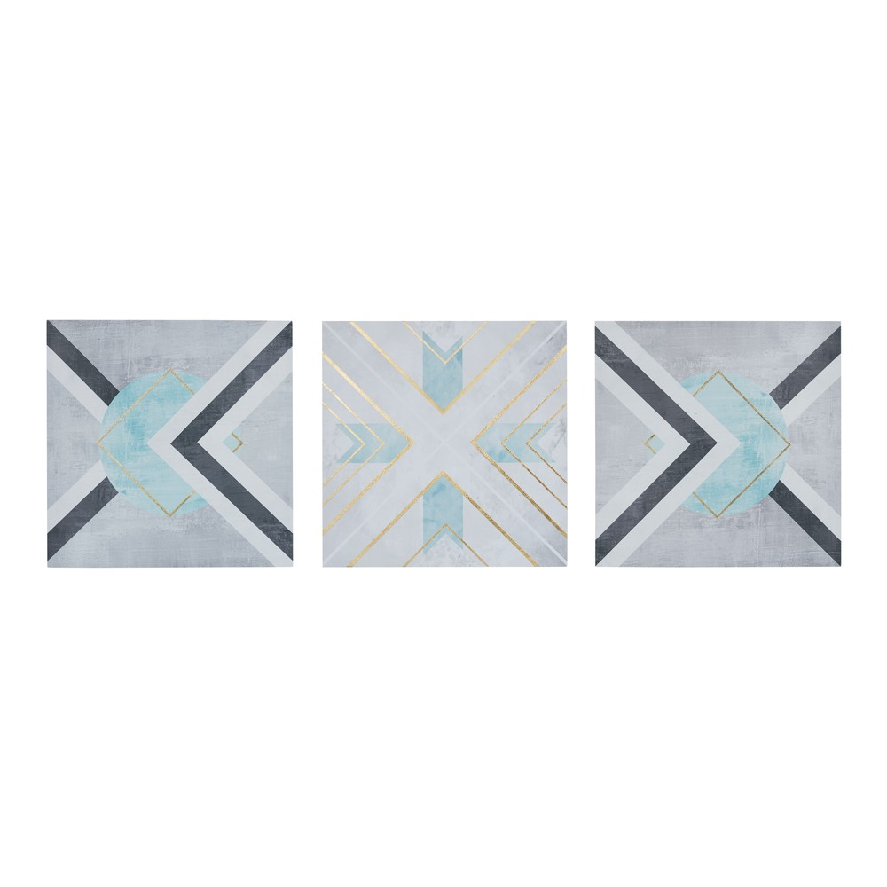Axis Printed Canvas 3pc Decorative Wall Art Set Gray
