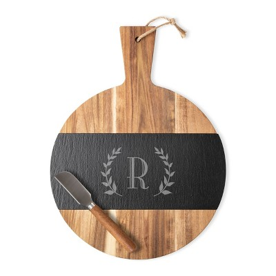 """Cathy's Concepts 11.5"""" x 15.4"""" Wood Personalized Serving Board with Cheese Knife Letter R"""