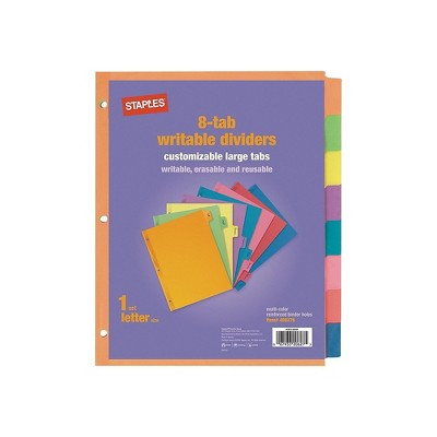 Staples Large Tabs Blank Paper Dividers 8-Tab Multicolor (13513/23181) 486276