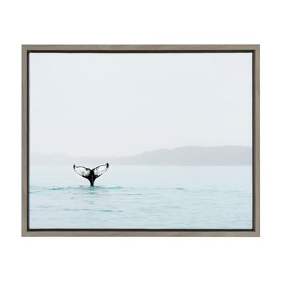 "18"" x 24"" Sylvie Whale Tail In The Mist Framed Canvas by Amy Peterson Gray - Kate and Laurel"