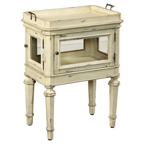 Hermosa Antique Glass Case Accent Table - White - Pulaski - image 1 of 2