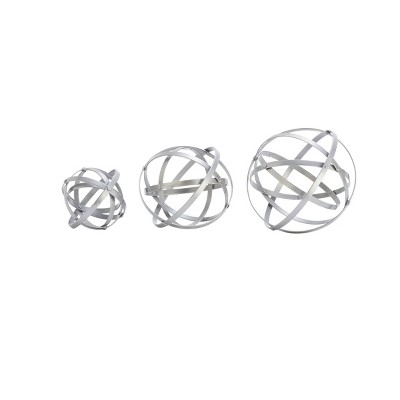 Set of 3 Modern Iron Foldable Orb Silver - Olivia & May