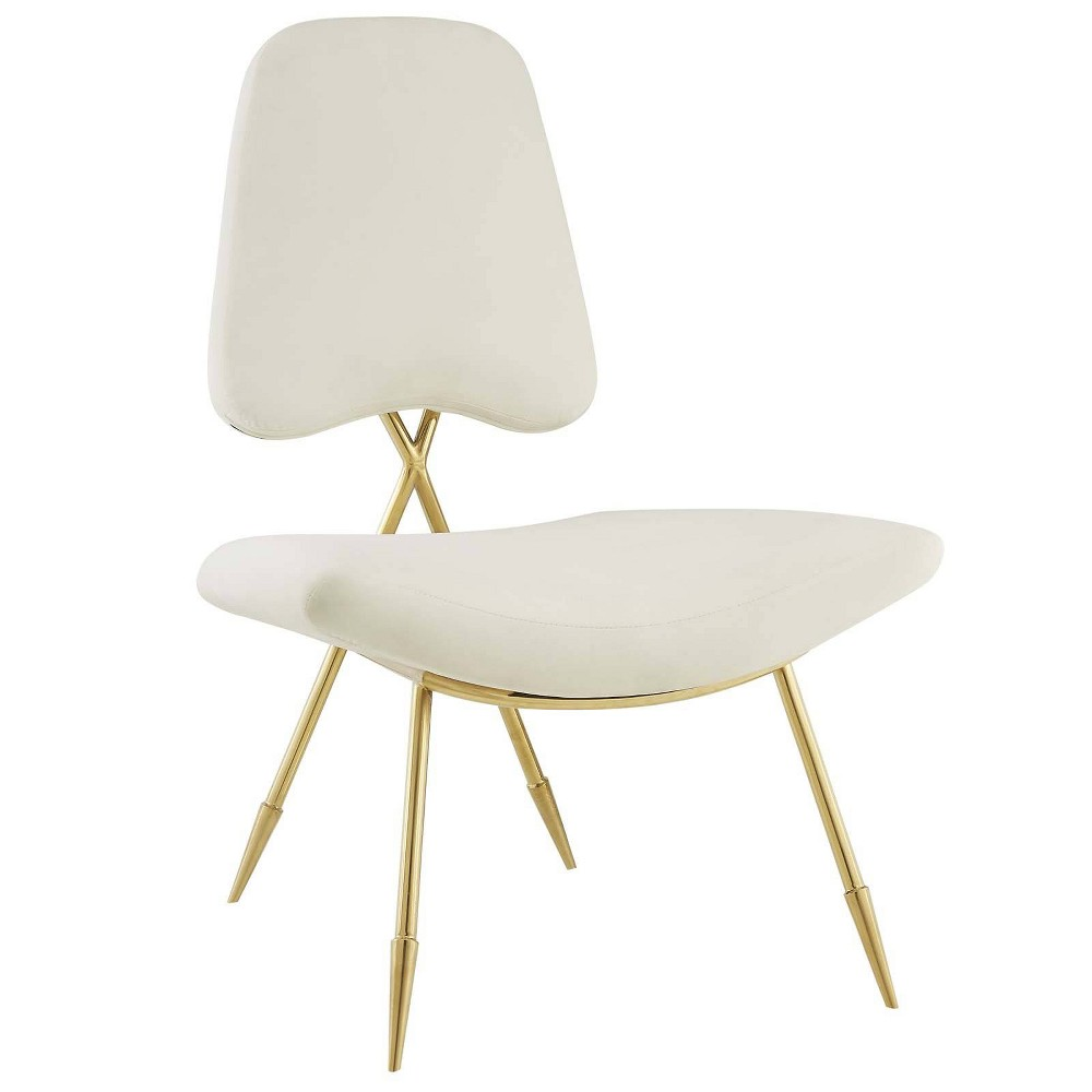 Ponder Upholstered Velvet Lounge Chair Ivory - Modway