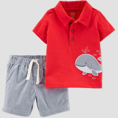 Baby Boys' 2pc Whale Embroidered Top and Stripe Bottom Set - Just One You® made by carter's Red 12M