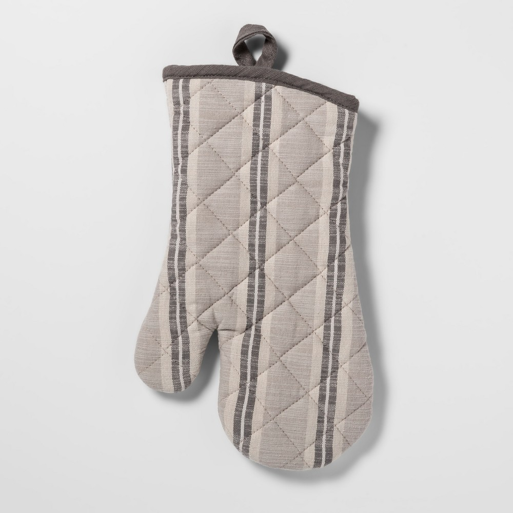 Image of Stripe Oven Mitt Gray - Threshold