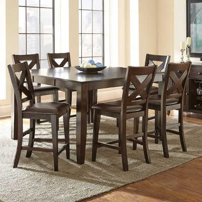 7pc Crosspointe Counter Height Extendable Dining Table Set Dark Cherry - Steve Silver