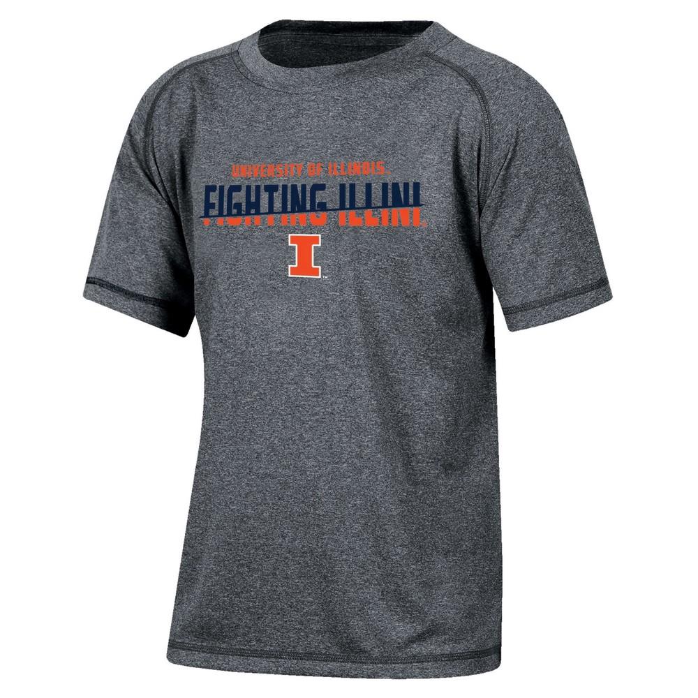 Illinois Fighting Illini Boys Short Sleeve Crew Neck Raglan Performance T-Shirt - Gray Heather XS, Multicolored