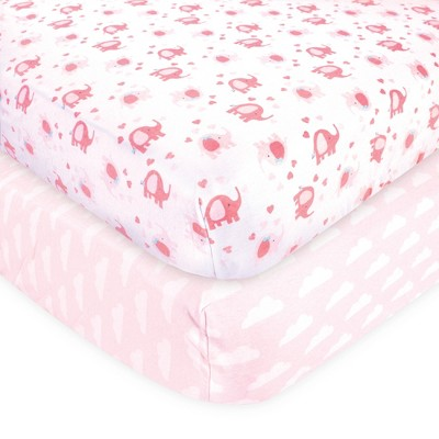 Luvable Friends Baby Girl Fitted Crib Sheet, Girl Basic Elephant, One Size