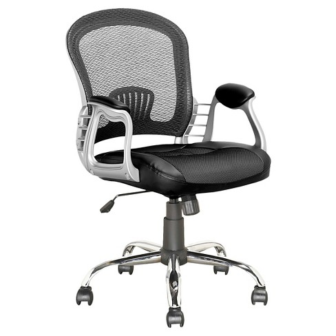 Workspace Executive Office Chair Black Leatherette and Mesh - CorLiving - image 1 of 4