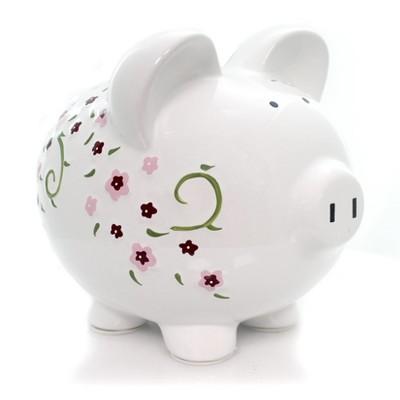 "Bank 7.75"" Large Shabby Chic Pig Bank Flowers Money Saving  -  Decorative Banks"