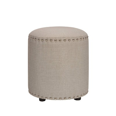 "18.5"" Laura Round Backless Upholstered Vanity Stool Light Linen Gray - Hillsdale Furniture"