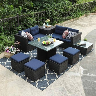 9pc Patio Furniture Set with Sofa, Table & Stools - Captiva Designs