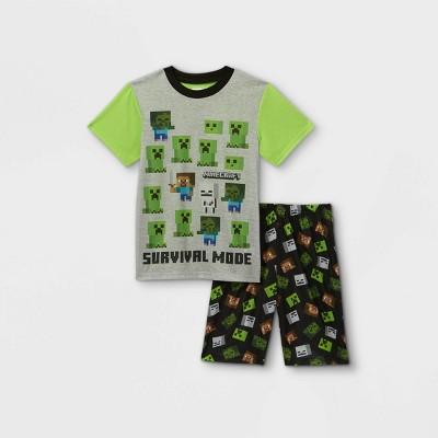 Boys' Minecraft 2pc Pajama Set - Green/Black