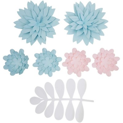 7-Piece Pink & Light Blue 3D Paper Flower for Wedding Party Backdrop Baby Shower Bridal Shower Wall Decor 5.9""