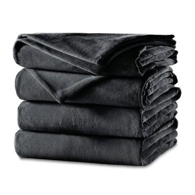 Twin Velvet Electric Bed Blanket Slate - Sunbeam