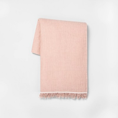 "60"" x70"" Solid Gauze Throw Blanket Rose Gold - Hearth & Hand™ with Magnolia"