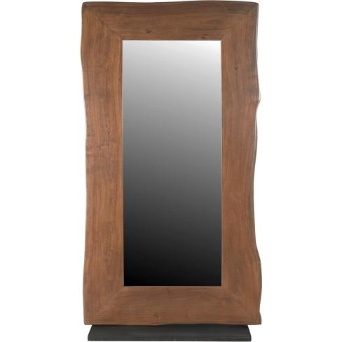 Natural Live Edge Adjustable Floor Mirror Honey Brown - Treasure Trove - image 1 of 4