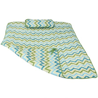 Polyester Quilted Hammock Pad and Pillow - Blue/Green Chevron Stripe - Sunnydaze Decor