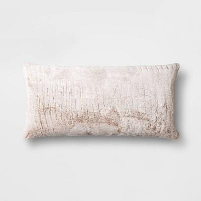 "12""x24"" Oversized Lumbar Faux Rabbit Fur Throw Pillow Neutral - Threshold™"