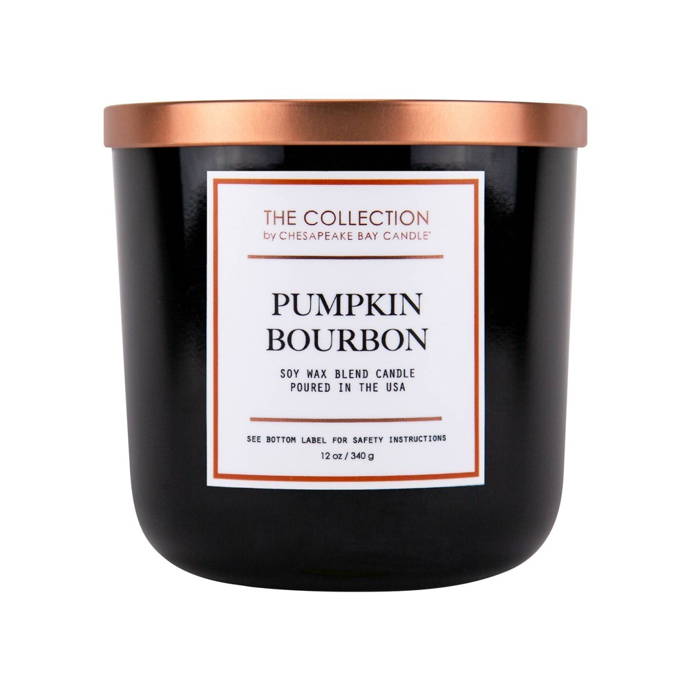 Image of 12oz Glass Jar 2-Wick Candle Pumpkin Bourbon - The Collection by Chesapeake Bay Candle, Black