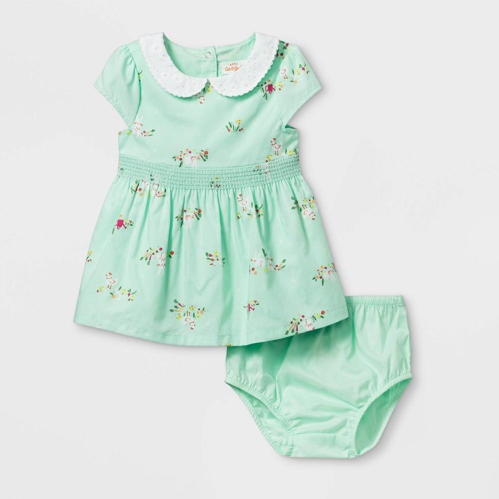 Image of Baby Girls' Bunny Dress - Cat & Jack Green 0-3M, Girl's