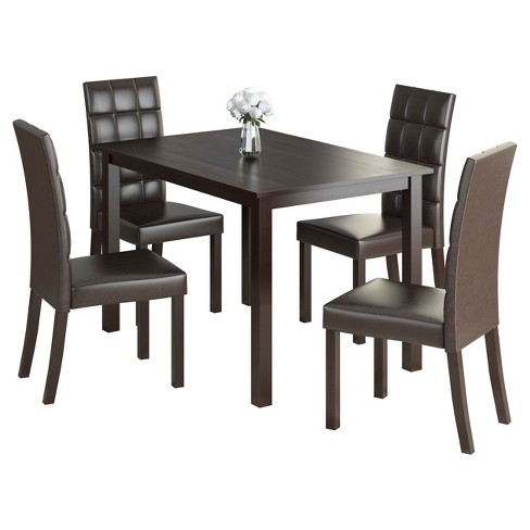 Atwood 5 Piece Dining Set - Dark Brown - CorLiving - image 1 of 4
