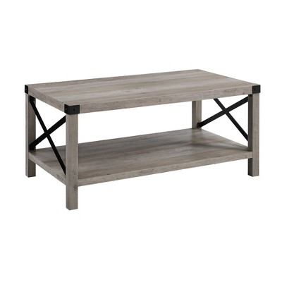 "40"" Rustic Farmhouse X Side Coffee Table Gray Wash - Saracina Home"