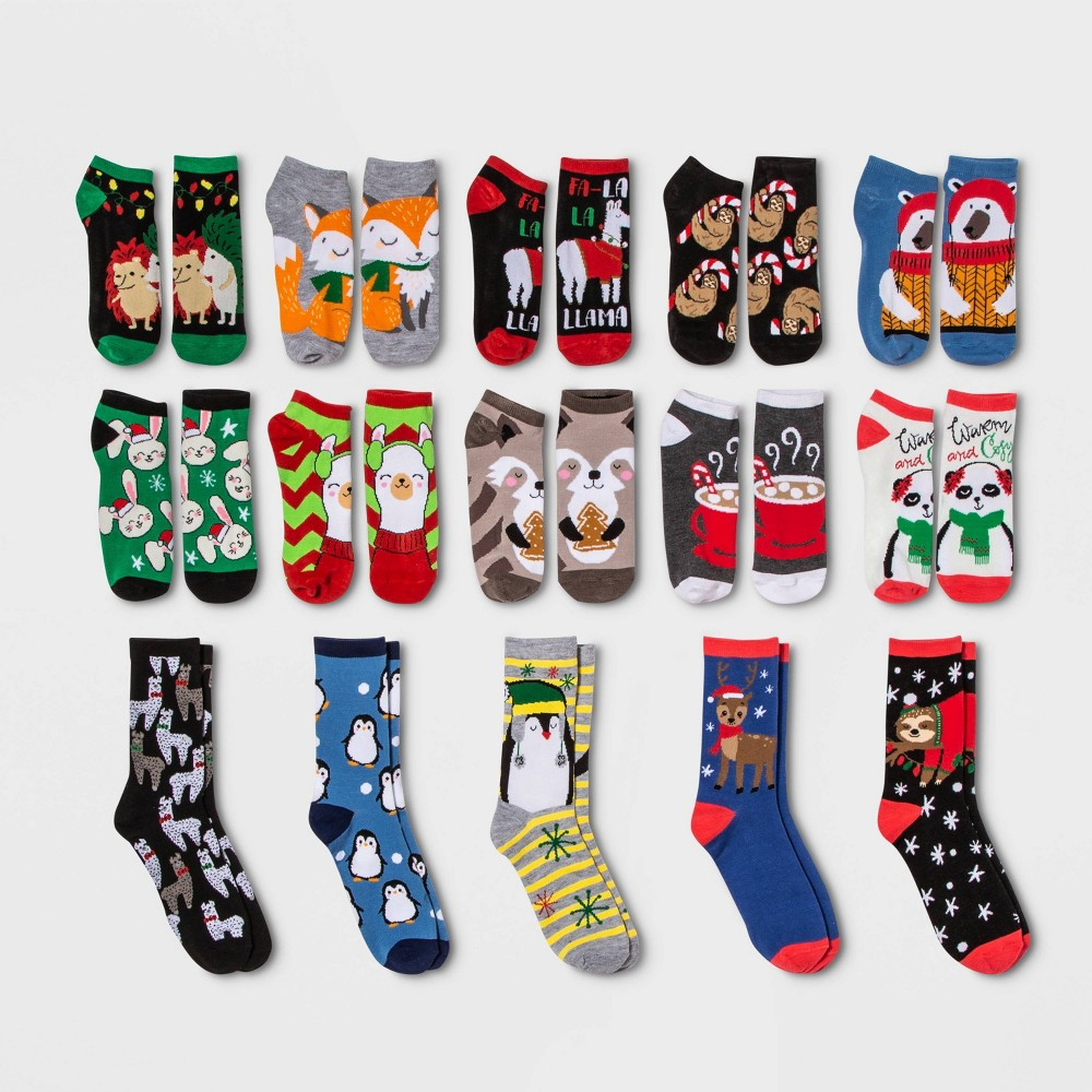 Image of Women's Holiday Critter 15 Days of Socks Advent Calendar - Assorted Colors One Size, Women's, MultiColored