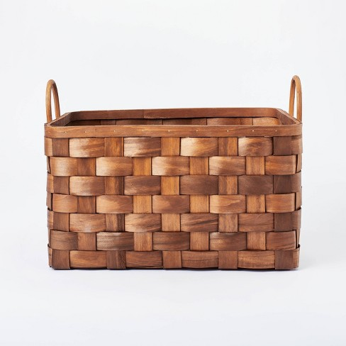 """18"""" x 10"""" Decorative Pond Cypress Basket with Handles Brown - Threshold™ designed with Studio McGee - image 1 of 4"""
