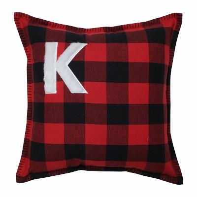 "17""x17"" Buffalo Plaid 'K' Throw Pillow Red/Black - Pillow Perfect"