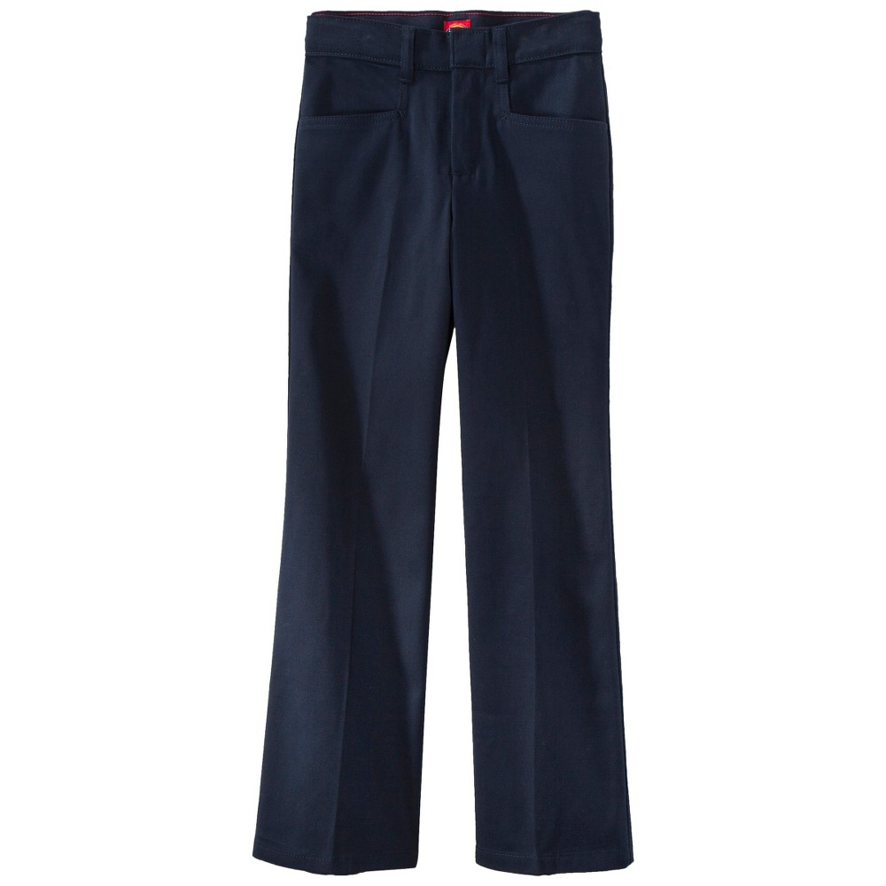 Dickies Girls' Classic Fit Stretch Boot Cut Uniform Chino Pants - Dark Navy 1