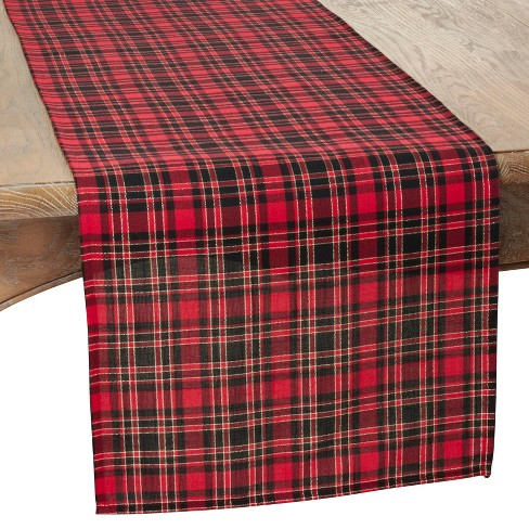 "16"" X 72"" Plaid Design Runner Red - SARO Lifestyle - image 1 of 2"