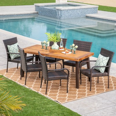 Sutton 7pc Acacia & Wicker Dining Set - Teak/Brown - Christopher Knight Home