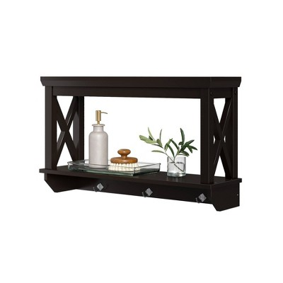 Wall Mounted Cross Frame Shelf with Hook Rack Espresso Brown