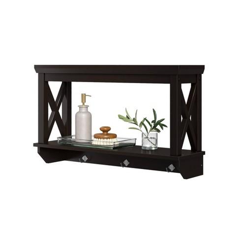 Wall Mounted Cross Frame Shelf with Hook Rack - RiverRidge Home - image 1 of 4