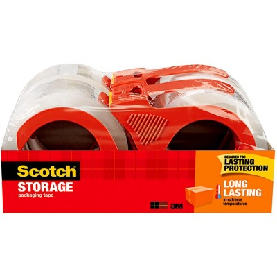 Scotch Long Lasting Storage Packaging Tape with Dispenser, 1.88es Inch x 38.2 Yards, pk of 4