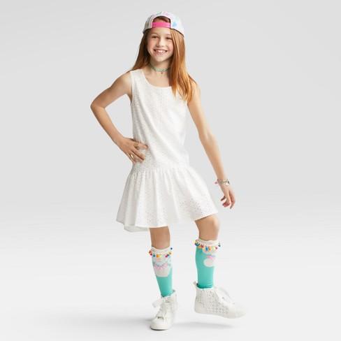 5debc70d70a Girls  2pk Pom Pom Cat Knee High Socks - Cat   Jack™ S   Target