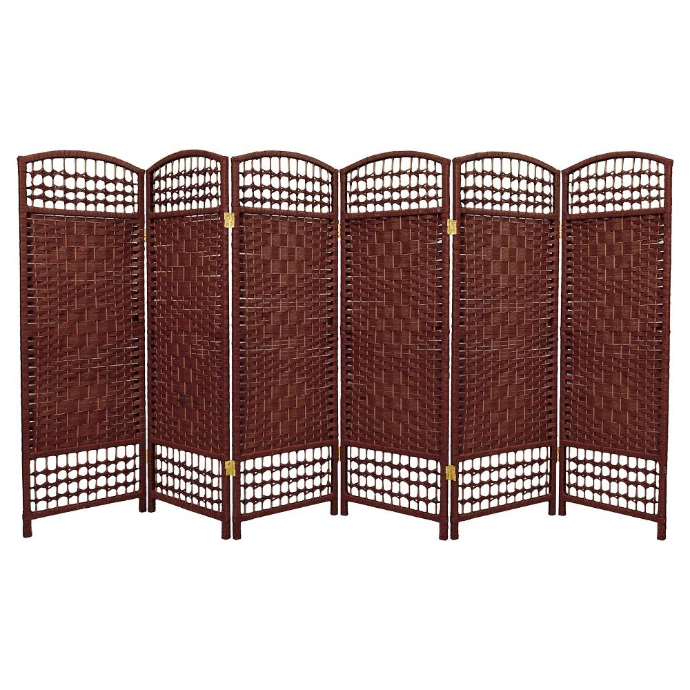 Image of 4 ft. Tall Fiber Weave Room Divider - Dark Red (6 Panels) - Oriental Furniture, Russet