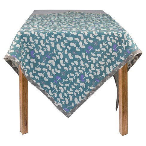 "Blue Organic Cotton Vines Square Tablecloth (60""x60"") - ASD Living - image 1 of 1"