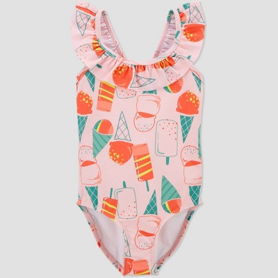 Toddler Girls' Popsicle Ruffle Sleeve One Piece Swimsuit - Just One You® made by carter's Pink