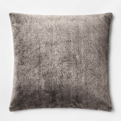 Faux Rabbit Fur Oversize Square Throw Pillow Black - Threshold™
