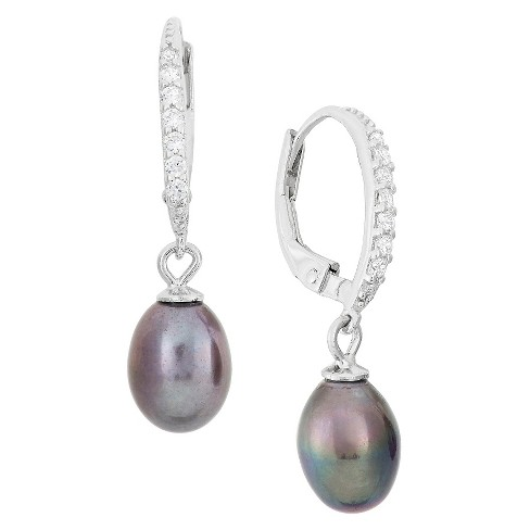 Dangling 6mm Black Pearl with Cubic Zirconia Side Stones in Sterling Silver - image 1 of 1